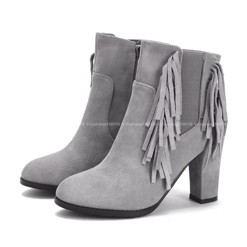 fringe shoes 2016 boots genuine suede leather
