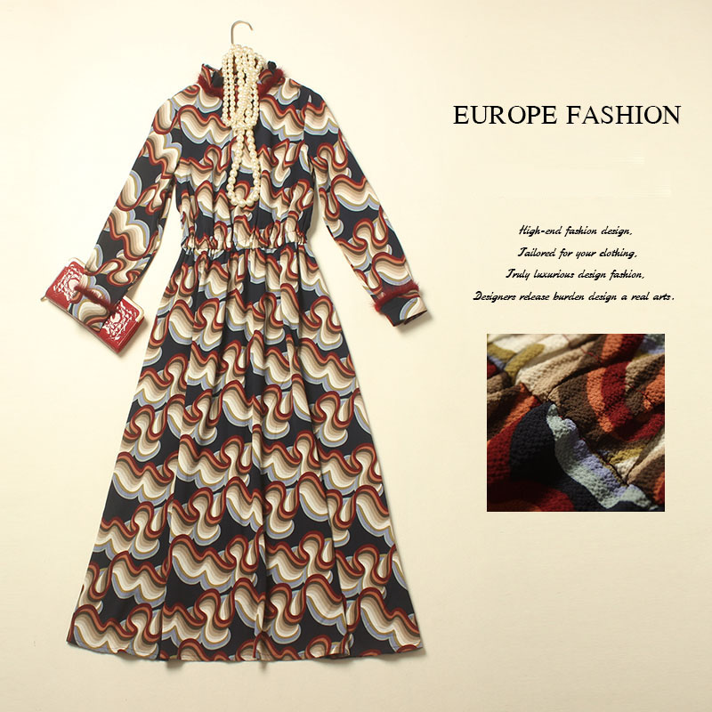 Novelty Dress 2016 Spring Autumn Runway Fashion Full Lantern Sleeve Feathers Brand Turtleneck Abstract Print Vintage Women DressОдежда и ак�е��уары<br><br><br>Aliexpress