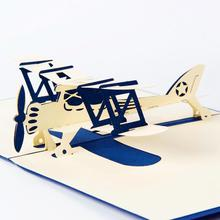 10pcs Airplane Model 3D Laser Cut Pop Up Blank Holiday Happy Birthday Greeting Cards Gifts Post Wishes Bulk Wholesale 4006