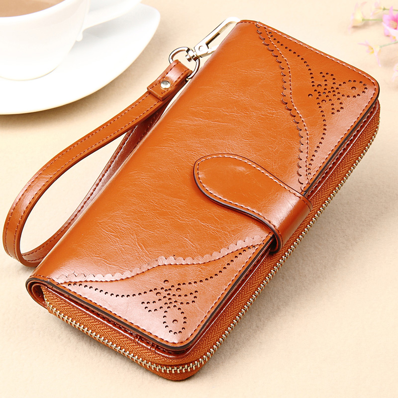 2016 brand women's design wallet fashion ladies' zipper coin purse genuine leather long clutch mobile phone bag dollar price(China (Mainland))