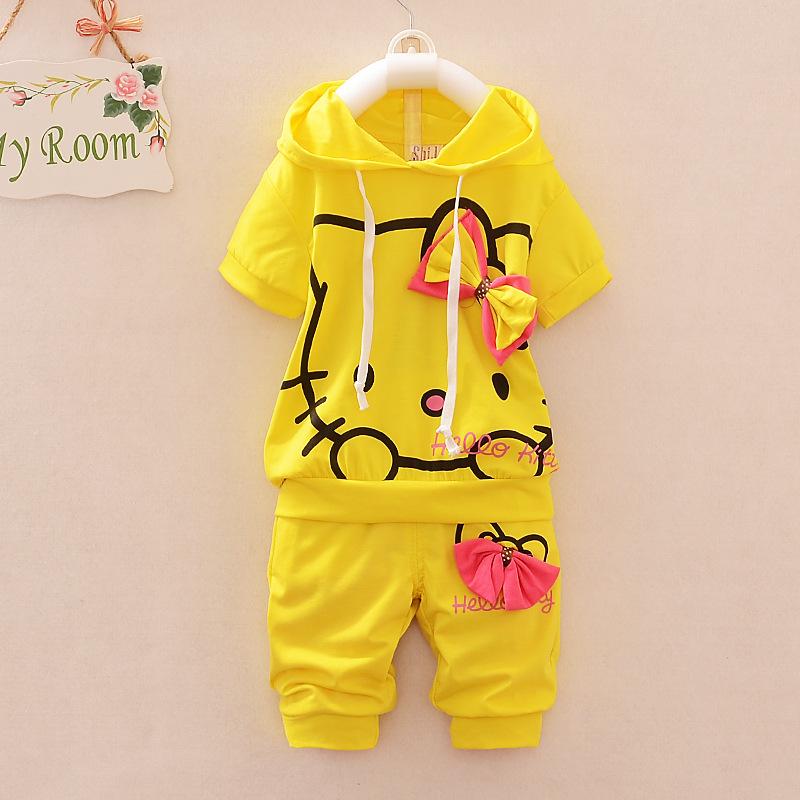 free shipping2015SPRING/SUMMER children clothing kids girls suit cartoon Hello Kitty set short-sleeve T-shirt+pants 2pcs 4colors(China (Mainland))