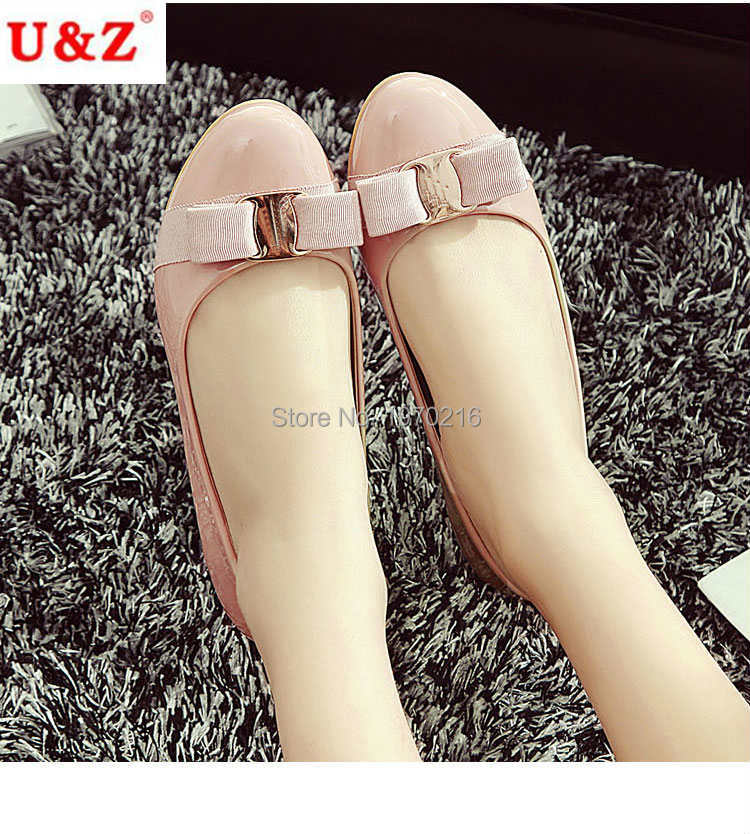 Spring summer 2016 Lovely patent leather satin bow flats shoes & Block heels Black/Navy,brand golden buckle ballet flat loafers(China (Mainland))