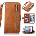 Zipper Wallet Card Holder Genuine Leather Strap Handbag Flip Stand Case Cover For iPhone 7 Plus