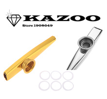 2 Colors Kazoo Aluminum Alloy Metal with 1pcs Flute Diaphragm Gift Musical Instrument for Kids Music Lovers kazoo(China (Mainland))