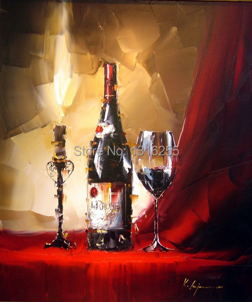 Candle light red wine Oil Painting On Canvas By(China (Mainland))