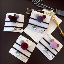 2 Set/Lot 2016 New Korean Style Women Hair Accessories Cute Fur Ball Pearl Hair Rope Hair Ring Rubber Band Two Pieces/ Sets(China (Mainland))