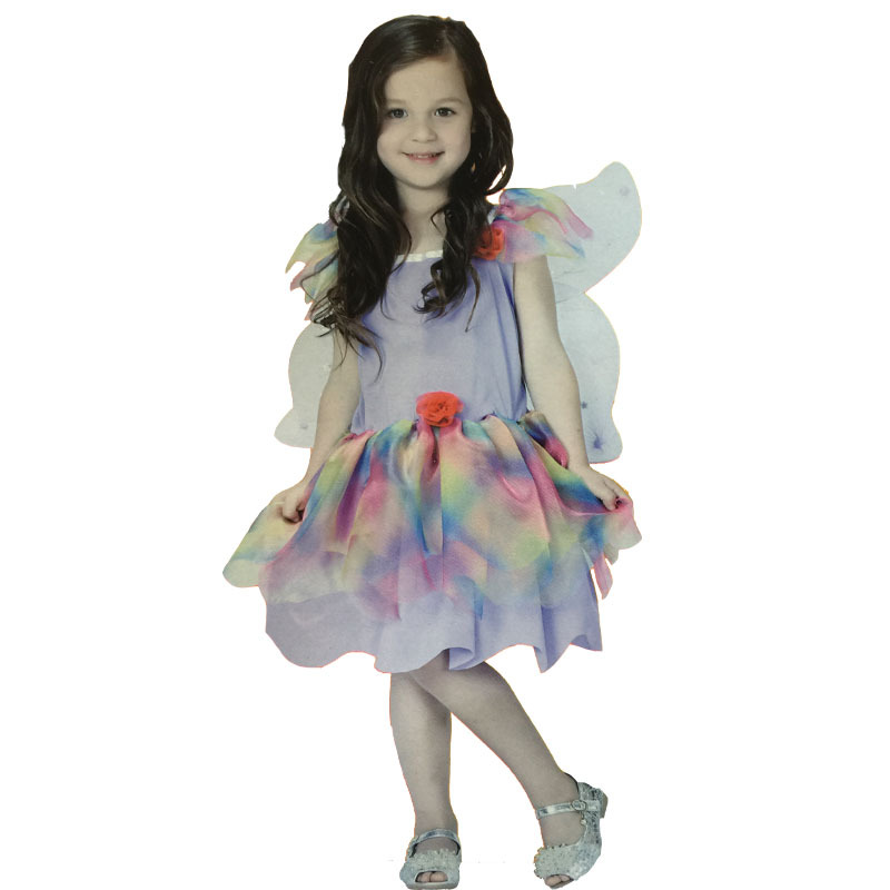 Free shipping ,children girl purple rainbow Genius fairy tinkerbell dress with wing,cosplay party maiden costume .(China (Mainland))