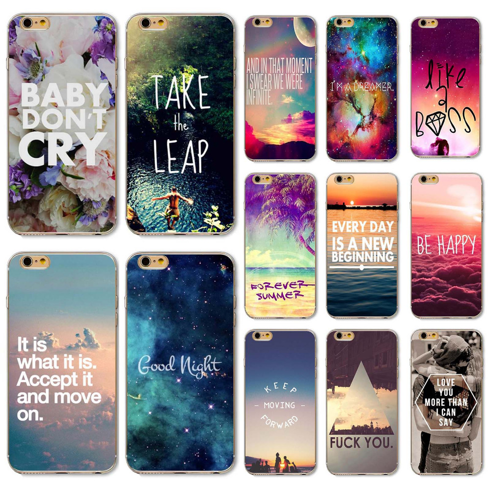 I6 Soft TPU Silicon Case Phone Cover For Iphone 6 6S Special Designs With Romantic Words Popular Styles(China (Mainland))