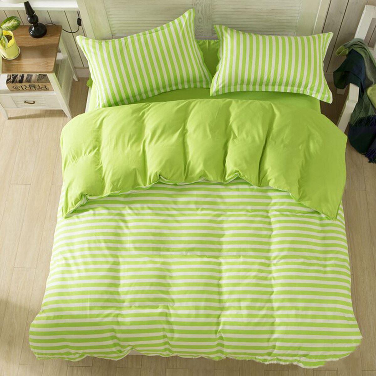 Sweet Green Stripe Quilt Print Bedding Sets Soft Cotton Duvet Cover Pillowcase Bedsheet Set Home Textile Single Double King Size