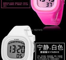 Electronic 2014 nueva moda estudiantes luz de la noche impermeable multifunción relojes de la jalea de silicona relojes infantiles