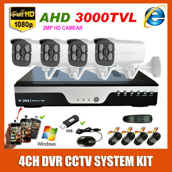 New HD 4CH AHD 2MP Home Outdoor 3000TVL CCTV System Kit 4 Channel Array Surveillance Camera 1920*1080P Security System Kit(China (Mainland))