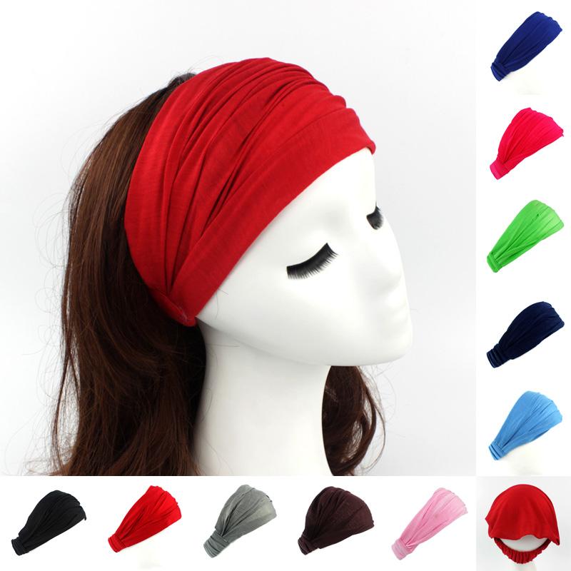 Ladies cotton Hairband Head Band Headband Wrap Neck Head Scarf Cap 2 in 1 Sports Bandana(China (Mainland))