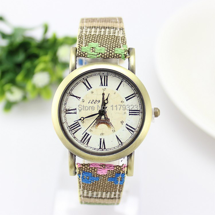 Design Brand Luxury Vintage Women Watch Fashion Colorful Fabric Analog Wristwatch Gold Quartz Casual Eiffel Tower Hot - E-Romantic store
