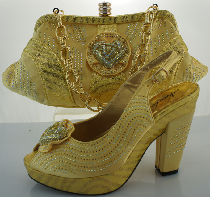 Latest Design High Quality YELLOW Italian Shoes And Bag To Match For Wedding Party DressME3301 ...