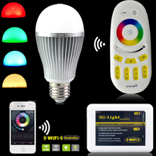 Milight AC85-265V 2.4G Wireless E27 RGBW RGB/WW rgb wifi 6W/9W/12W LED Dimmable Bulb lampada Lamp RF Remote Wifi APP controller