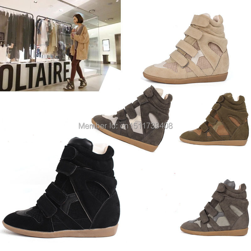 Newest Original Isabel Marant Sneakers wedge shoes Suede leather women high top casual sneakers Wholesale(China (Mainland))