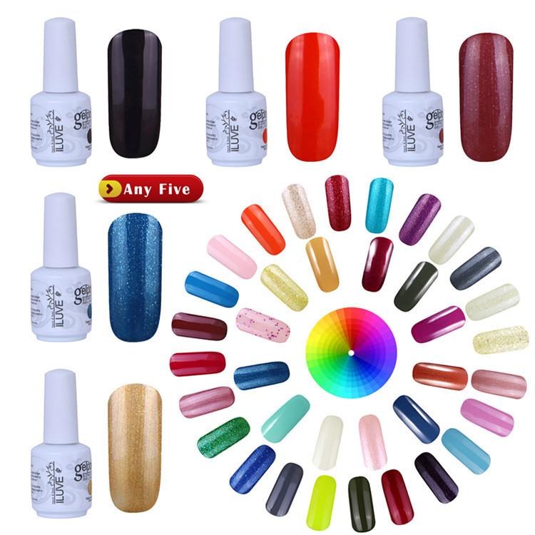 Choose 5 Colors in 238 iLuve Hot Selling Pure Colour UV Nail Gel Polish Long Lasting Glaze UV Gel Nail Polish Base Top Needed(China (Mainland))