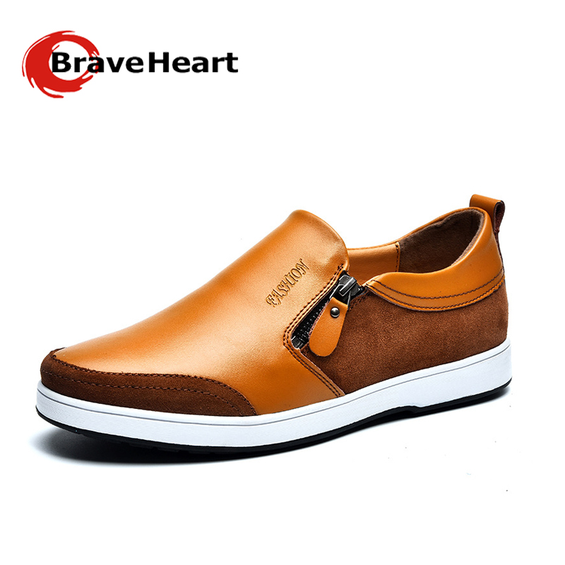 Spring Men Shoes Genuine Leather Round Head Mens Shoes Height Increasd Casual Flat Shoes Slip-on Side Zipper Sapatos Masculinos<br><br>Aliexpress