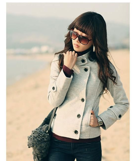 High Quality 2015 Winter Autumn New Style Overcoat Women Button Down Cloth Casacos Outwear Jacket Gray Female Wool Coat(China (Mainland))
