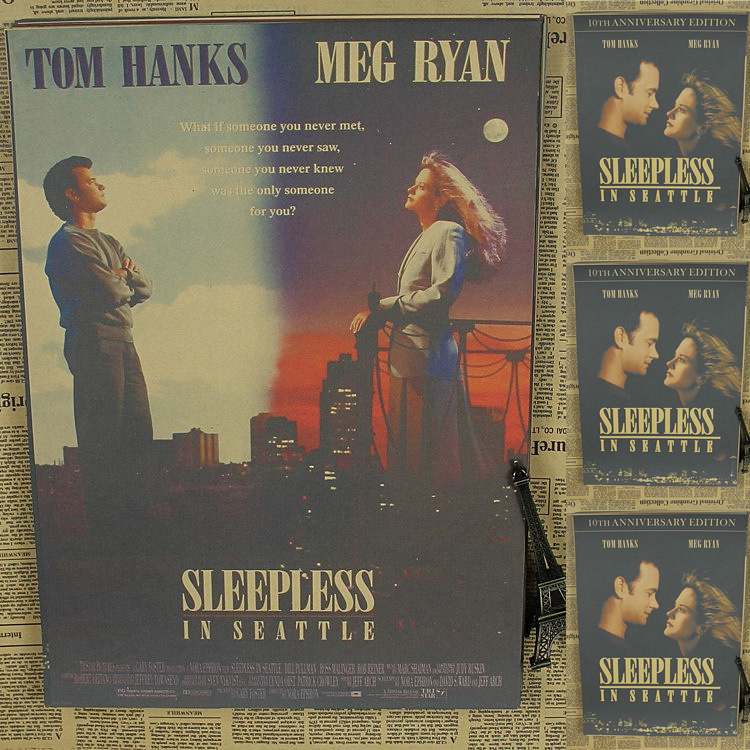 Vintage Poster Sleepless in Seattle Tom Hanks Movie Poster dining room wall study office retro poster 30x21cm(China (Mainland))