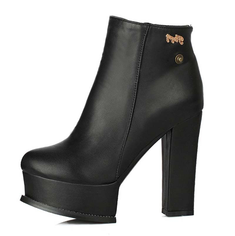 Ankle boots for women new Square heel High punk shoes women motorcycle boots Martin boots wedding party Winter shoes  <br><br>Aliexpress