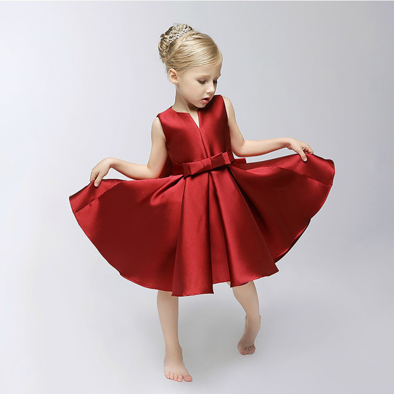 High - grade girls dress performance wear small V collar import Satin girl princess skirt  full dress free shipping<br><br>Aliexpress