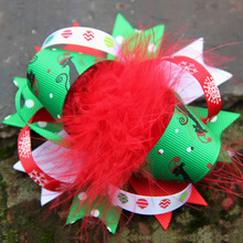 2pcs/lot Lovely Sweet Stacked Bow Hair Clip Feather Bow 8 Colors Bubbles Flower Hello Kitty Frog Christmas Bow 5065