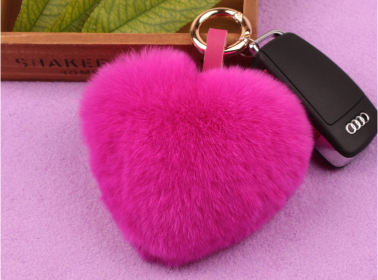 2016 New Romantic Hot Sale ZincAlloy Supreme Rabbit Fur Car Key Chain Hand Bag Chain Gift Love Heart Sharp Red Color Many Colors(China (Mainland))