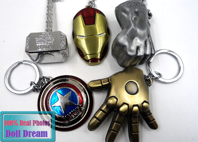 5pcs/lot Hulk Fist/Captain America Shield/Iron Man Mask/Thor Hammer Keychain marvel the avengers action Figure keychain keyring(China (Mainland))