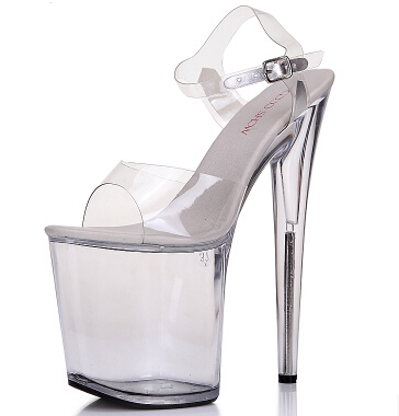 Free Shipping 34 35-44 4Plus Size Women Fashion transparent Buckle Sandles Girls Platforms 20 cm Ultra High Heel Pumps Peep Toe<br><br>Aliexpress