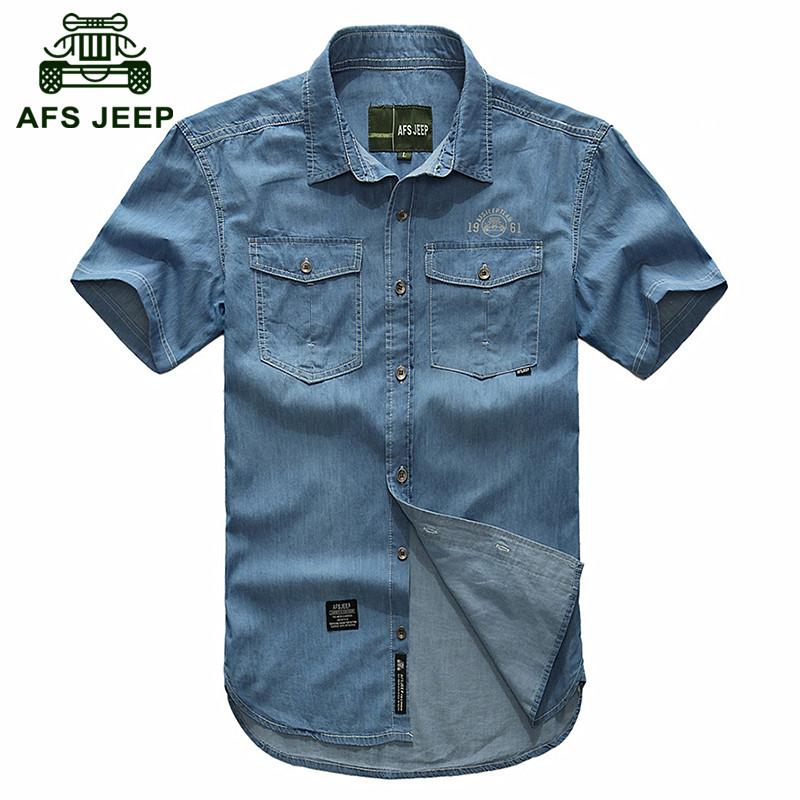 AFS JEEP Plus size M- 5XL 2016 European cowboy style men's cool summer casual brand 100% cotton short shirts man blue shirt 3018 от Aliexpress INT