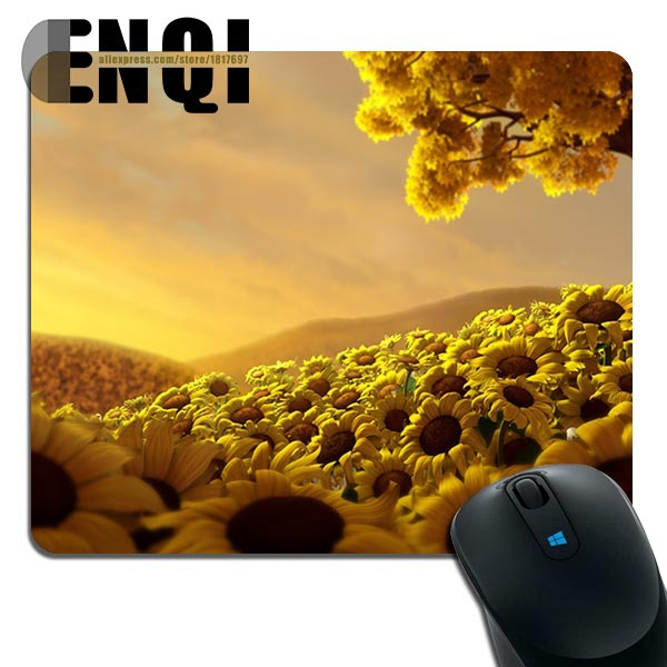 2015 Durable free field of sunflower Background pattern Game Rubber Rectangular mouse pad(China (Mainland))