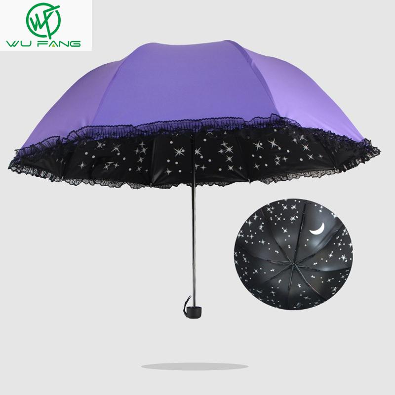 Дождя Летом Три складной Звездное Небо Края Шнурка Солнце/Дождь Складной Анти-Уф Зонты Женщины Принцесса Купол Зонтик портативный
