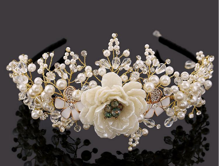Luxury Quality Handmade Pearl Crystal Beads Flower Bridal Headband Bride Hair Jewelry Headpiece for Wedding Ornaments(China (Mainland))
