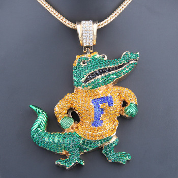 Free Ship Fashion Men Jewelry NCCA Florida Classic Albert the alligator Chunky Charm Pendant Necklace-BP2088(China (Mainland))