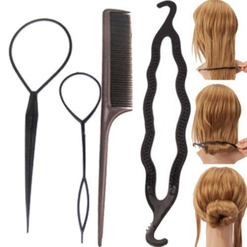 4Pcs/Set Hair Accessories Hairdressing Stylists Tool To Weave Braid Pull Hair Pins Plate Made Needle Hair Care Hair Styling Tool(China (Mainland))