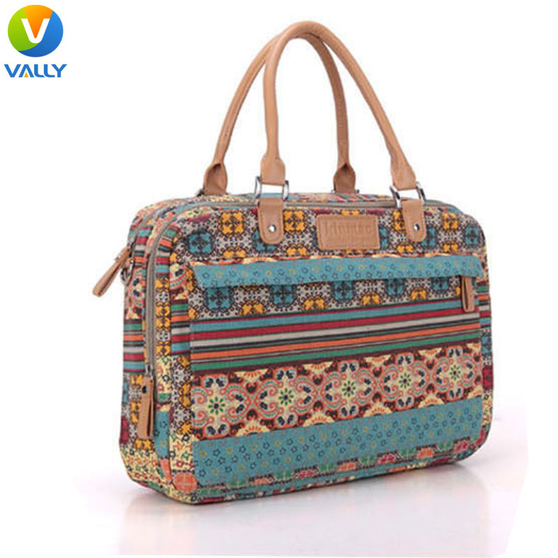 Bohemia Style Fashion Canvas Multi-use Laptop Briefcase Bag for MacBook Retina/Pro/Air 13 14 15 inch Laptop Sleeve(China (Mainland))