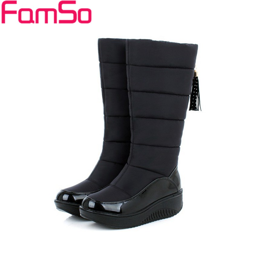 Free shipping 2016 New Classics Women Snow Boots Russia Outdoor Keep Warm Knee High Boots Women's Waterproof Down Boots SBT3401(China (Mainland))