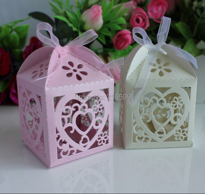 2Colors Pink Beige Laser Cut LOVE Wedding Favour Gift Candy Sweets Box Ribbons 5 - R & C Toy Figures store