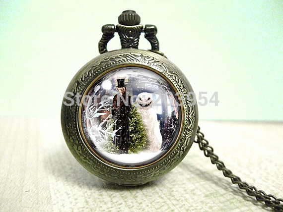 Uk TV Movie doctor 1 Necklace Video Pocket Watches Necklaces Watch Gift pendant clock time steampunk mens