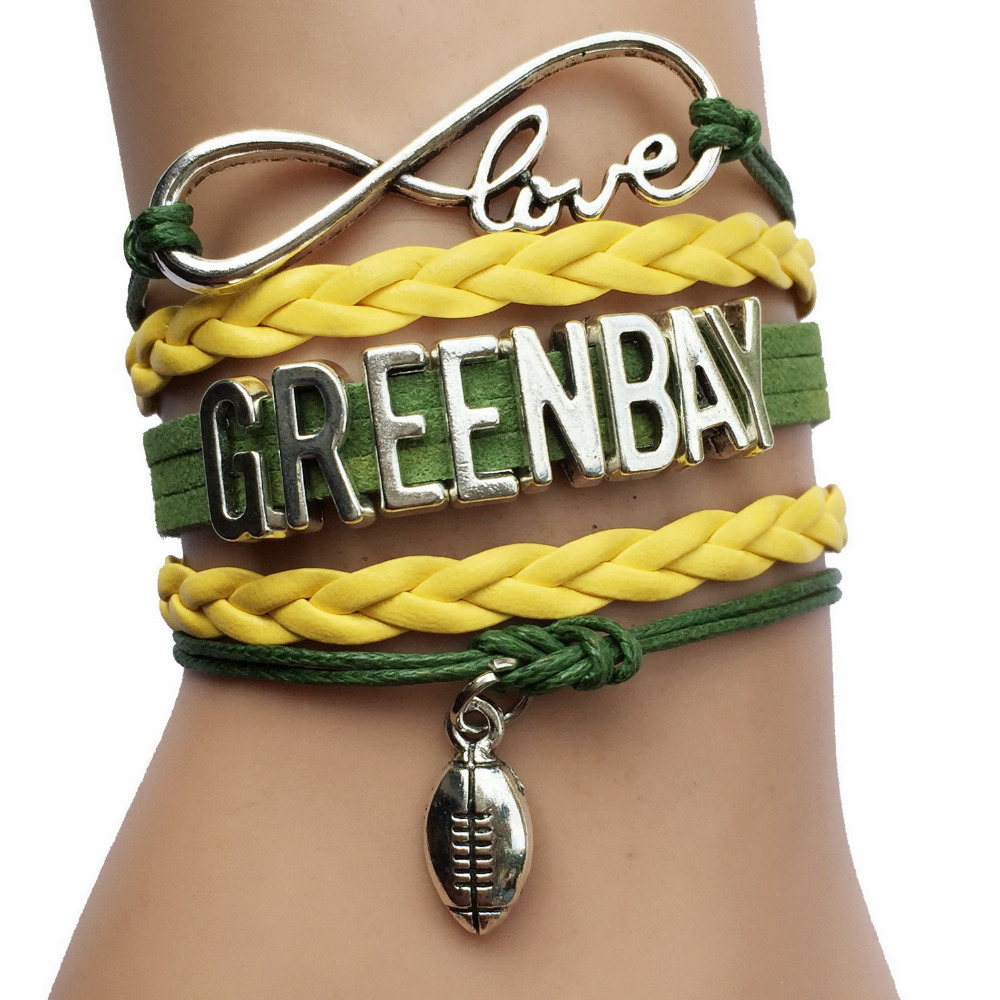 Drop Shipping Infinity Love Green Bay Packers NFL City Name Football Team Bracelets -Sports Gift(China (Mainland))