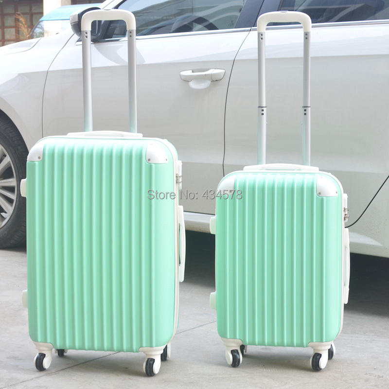 !lovely abs pc trolley luggage bags set,female fashion style 20 24 28inches travel wheels