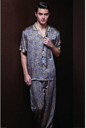 Free shipping, men's pajamas silk fabrics, short-sleeved pants pajama leisurewear suit.(China (Mainland))