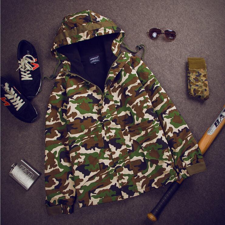 Camouflage Jackets Men winter 2015 New Menswear Sportswear Army Jacket Outdoor Coats Fashion Mens Hooded Military Style Jackets(China (Mainland))