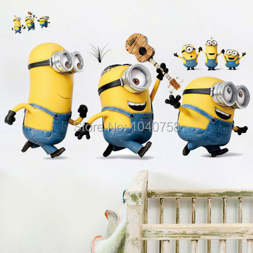 Cartoon Despicable Me Minions Wall Stickers for Kids Room Baby Wall Decal Home Decoration Wall Paper Art Stuart Mark Tim Poster(China (Mainland))
