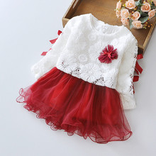 2016 New Girls Dress Flower Lace TuTu Dance Party Pagant Spring and Autumn Baby Kids Clothing Size 6M-24M(China (Mainland))