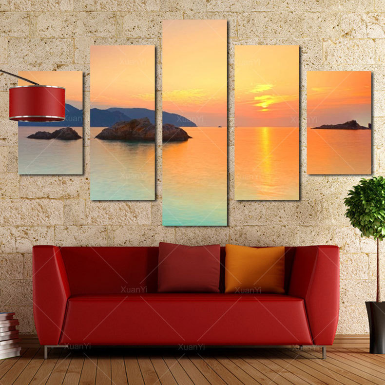 5 Panel Modern Printed Sunset Lake Spray Canvas Oil Painting Cuadros Scenery Art Wall Picture For Living Room Unframed Canvas(China (Mainland))