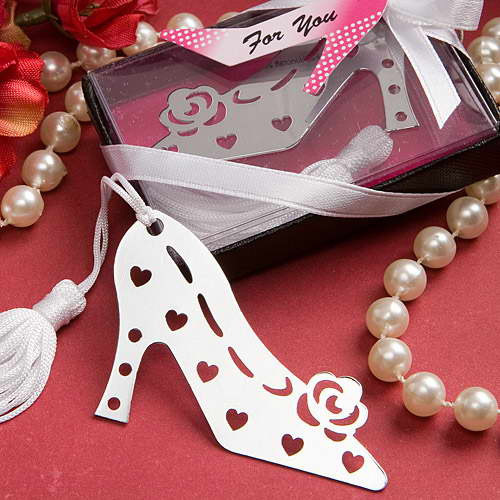 10pcs/lot Free Shipping High Heels Shape Promotion Bookmark Antique Silver Fashion Bookmarks With Tassels Wholesale BM008(China (Mainland))