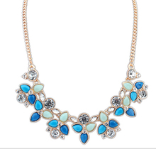 XL479 2014 New Colorful Fashion Leaf Rhinestone Resin Short Women Collar Choker Necklace Statement Jewelry
