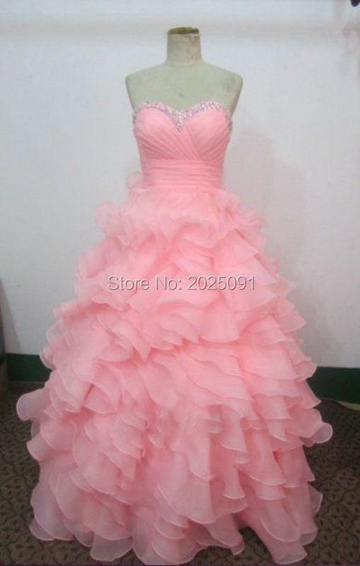 Custom Made Cheap Vestidos De 15 Anos A Line Long Pink Quinceanera Dresses 2016 Shiny Bead Princess Layered Sweet 15 Dress(China (Mainland))